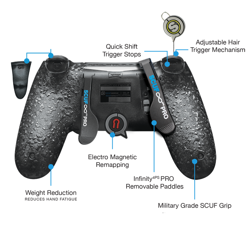 · Scuf's Vantage includes two side buttons and an audio control bar.