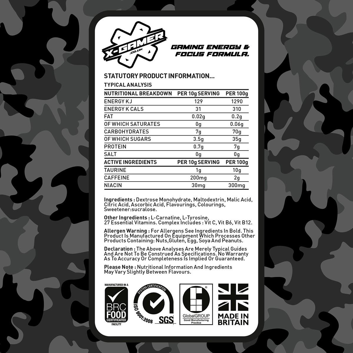 X Gamer Blue Nitro Flavour Energy Drink 60 Serving X